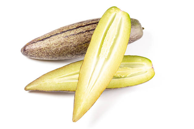 Pepino melon fruit on white background