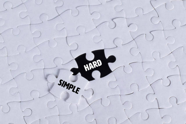 Missing puzzle piece with Simple Hard text