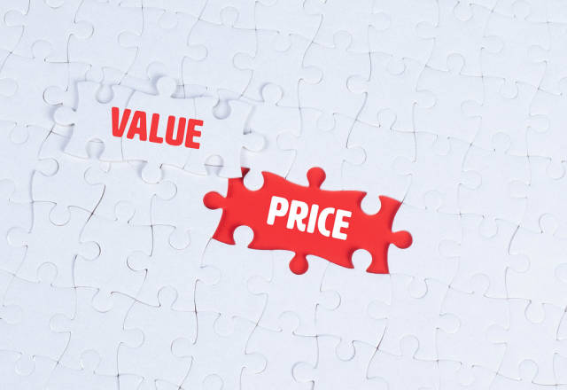 Missing puzzle pieces with a Value Price text