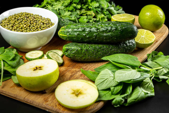 Set green raw healthy food eating vegetables