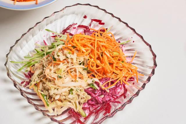 Mix of spicy korean vegetable kimchi salads