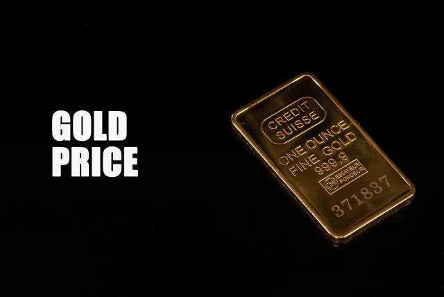 Gold bar with Gold price text on black background
