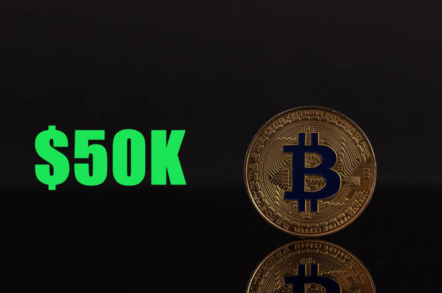 Golden Bitcoin with 50k text on black background
