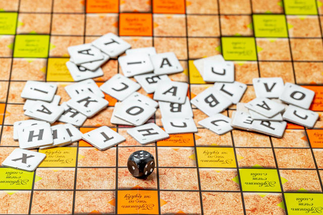 Scrabble game background, table game