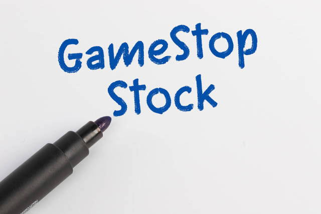 GameStop Stock text with blue marker pen