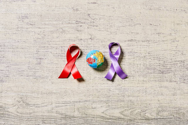Ribbons and miniature globe - World cancer day
