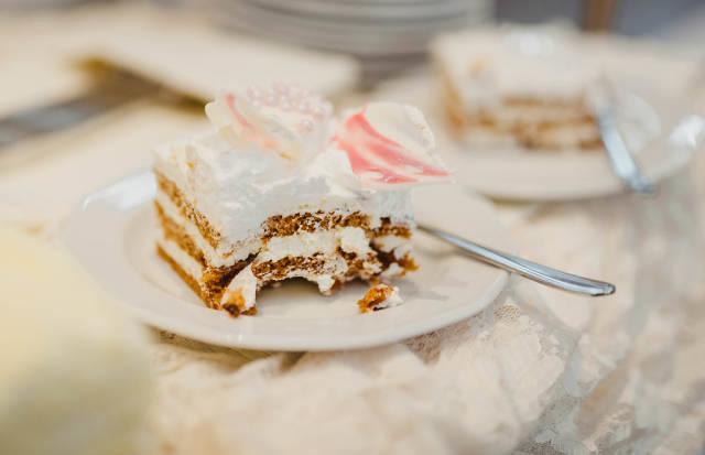 Wedding Cake Layers With Cream And Sugar Decor