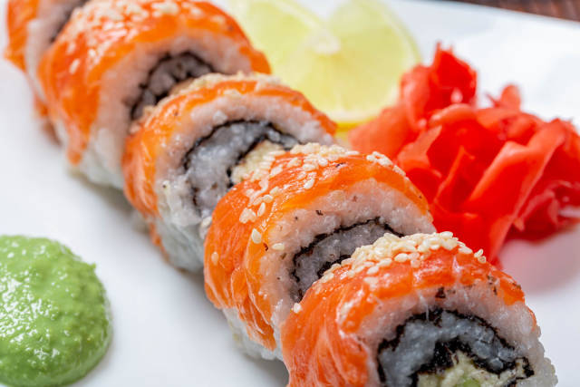 Classic Philadelphia sushi homemade close-up