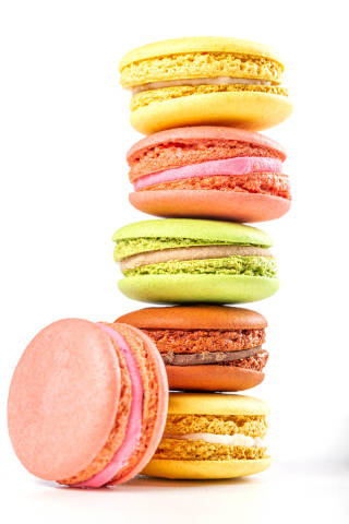 Stack of multicolored sweet delish macaroons