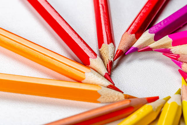 Circle of sharp colored pencils
