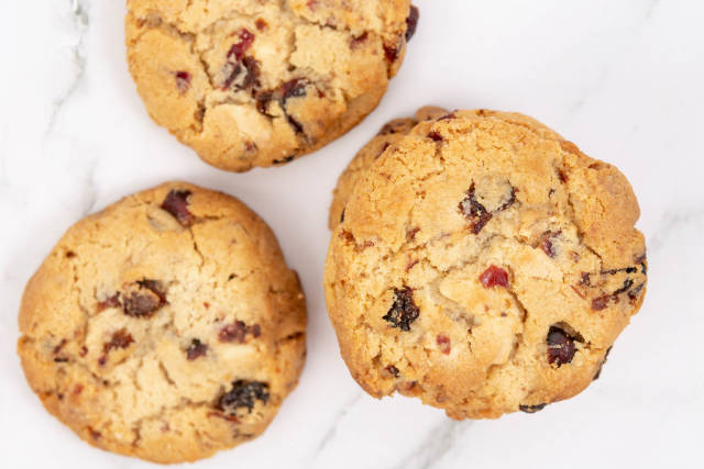 Flat lay above Round Biscuits with Raisins