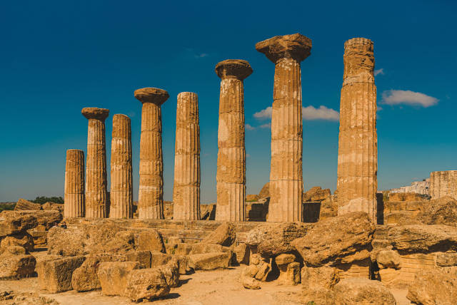 Colonnade Of Stone Columns In Agrigento