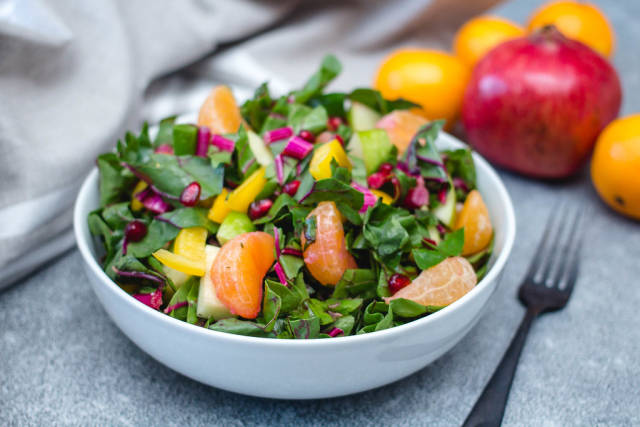Winter Salad with Spinach and Nectarine Close-Up