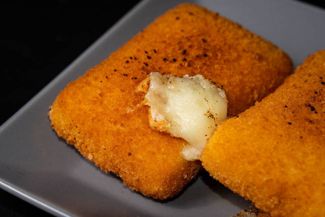Closeup on Fried Cheese