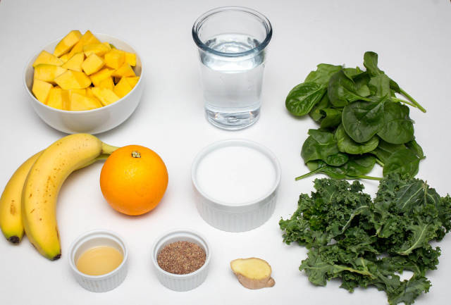 Green Smoothie Ingredients on a White Background