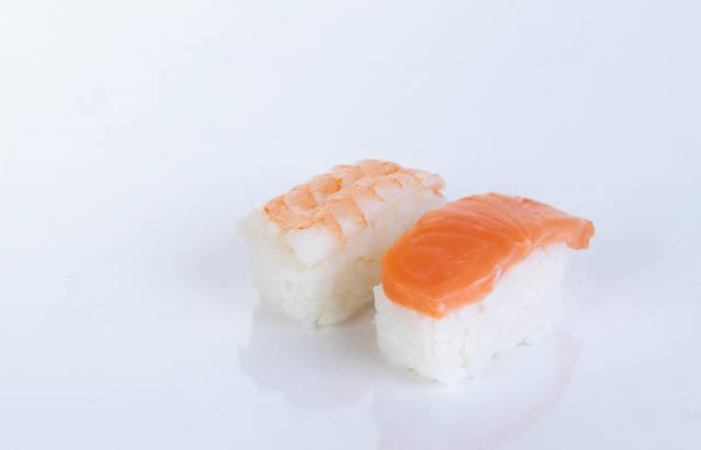 Two sushi on white background