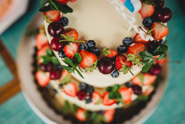 Close Up of Kid Prty Cheese Cake With Berries