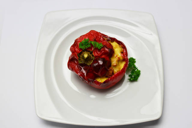 Red peppers stuffed with pork and cheese