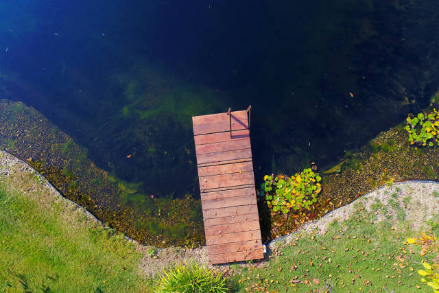 Aerial view of pontoon, view from drone