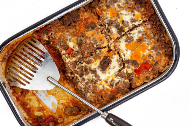 Pie with Eggplant Leek Paprika and Minced Meat