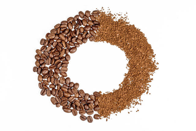 Round coffee frame on white background, top view