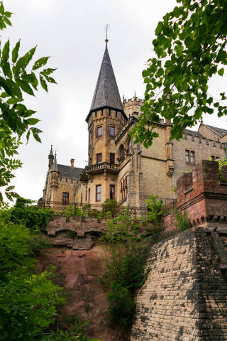 Close up of Marienburg Castle's tower standing on the cliff