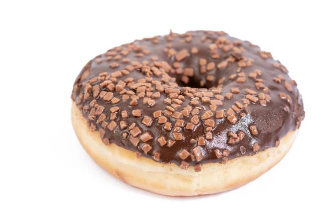 Chocolate Donut above white background