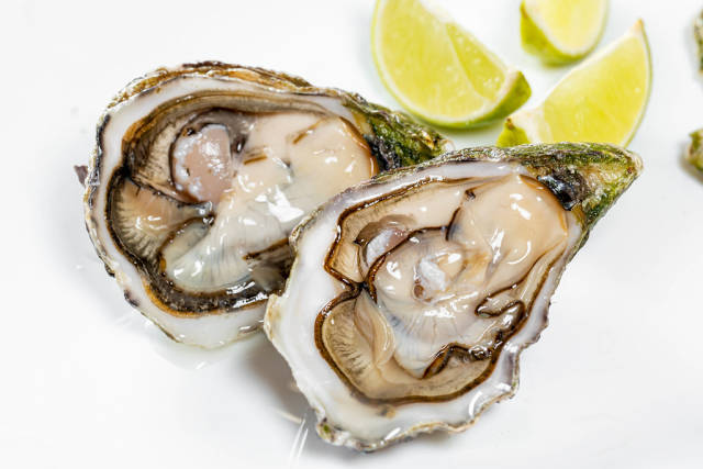 Fresh raw oyster with lime slices on white background