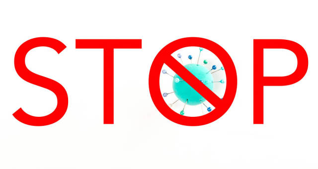 Stop lettering on white, concept of stopping a pandemic
