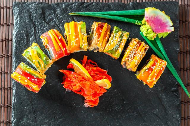 Sushi on a stone tray