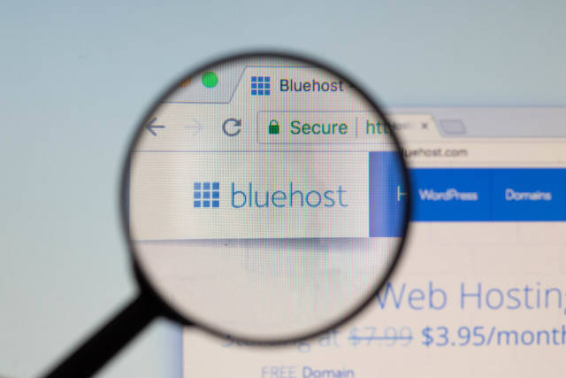 Bluehost logo on a computer screen with a magnifying glass