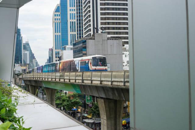 Skytrain passing by in Sukhumvit Bangkok