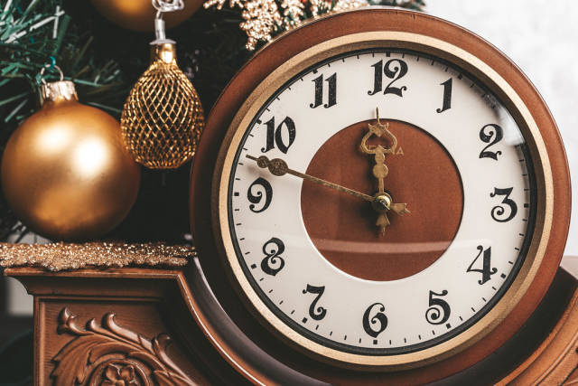 Close-up of a vintage clock as a symbol of the turn of the New Year