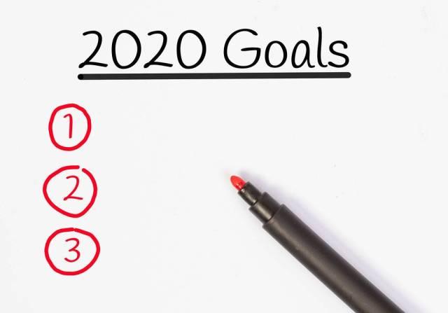 Zielsetzungen für 2020 mit rotem Filzstift