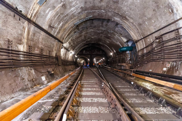 Tunnel in metro between Arsenalna and Dnipro station at Kyiv, Ukraine
