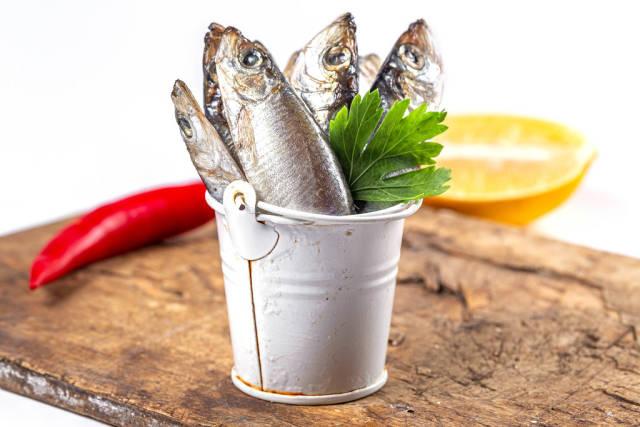 Full bucket of fish, close-up