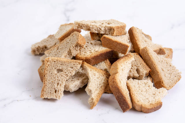 Pile of Cracked Biscuit Toast Bread
