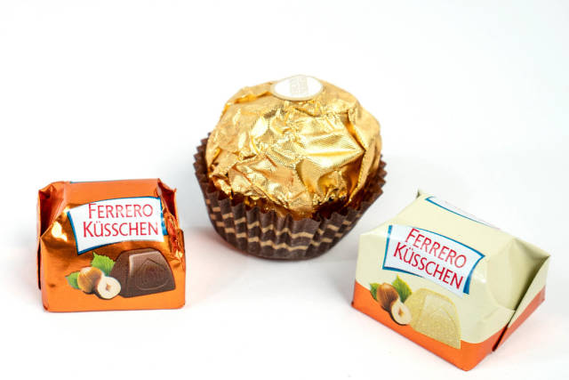 Delicious Ferrero Kusschen chocolates isolated above white background