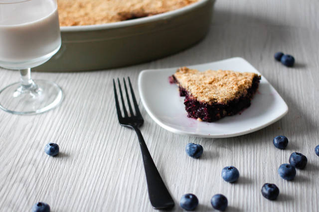 Blueberries Crumbles with Glass of Milk