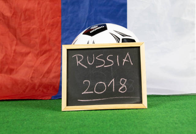 Russia 2018 sign with Russian flag
