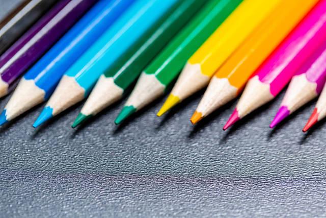 Colored pencils close-up