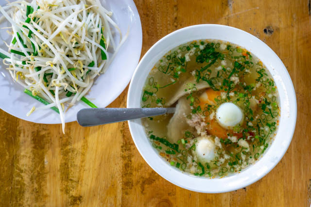 Hu Tieu Broth with Pork, Quail Egg and Beansprouts in Vietnam