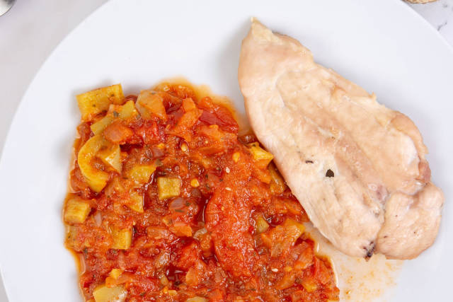 Tomato Stew with fried Chicken Breasts
