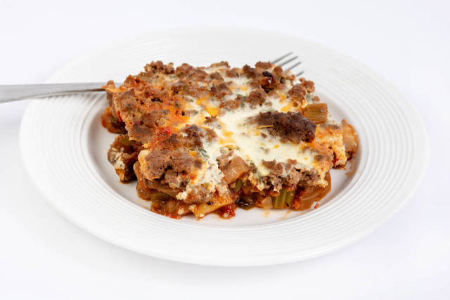 Served Pie with Eggplant Leek Paprika and Minced Meat