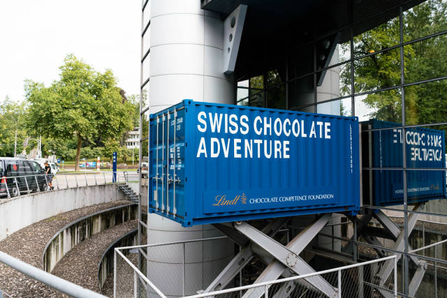 Blue counter of Swiss chocolate brand Lindt