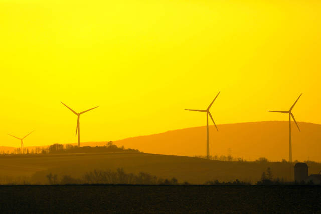 Wind farm at sunset, yellow sky