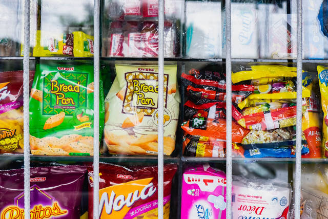 Crackers and small snacks sold at a local convenient store