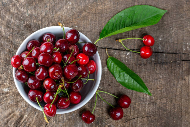 Top view of red cherries with leaves on old grey Board