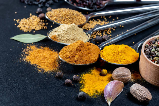 Natural spices: turmeric, ginger, pepper, mustard, barberry, garlic and pepper