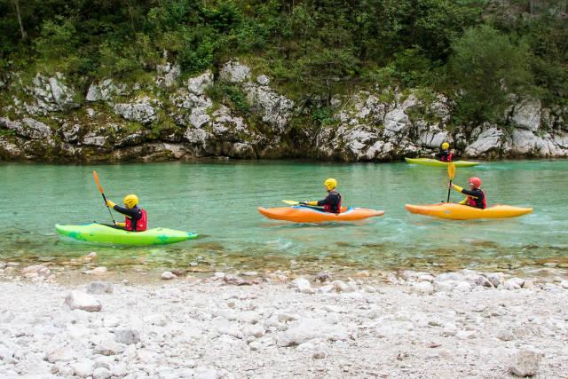 Kayaks on river Soca